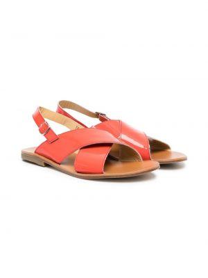 Pomarańczowe sandały skorzane płaska podeszwa Gallucci Kids