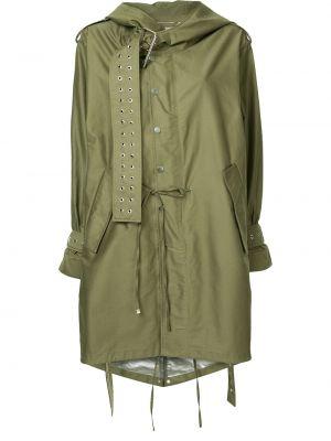 Пальто с капюшоном зеленое на молнии Monse