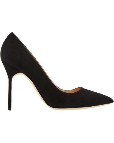 Туфли на каблуке черные кожаные Manolo Blahnik