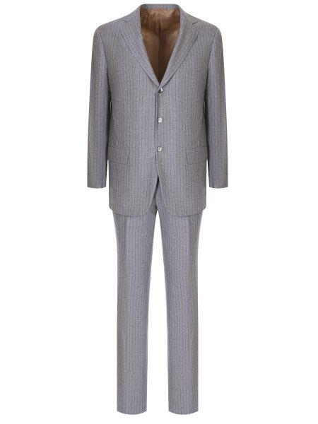 Шелковый костюмный костюм на пуговицах с карманами Castangia