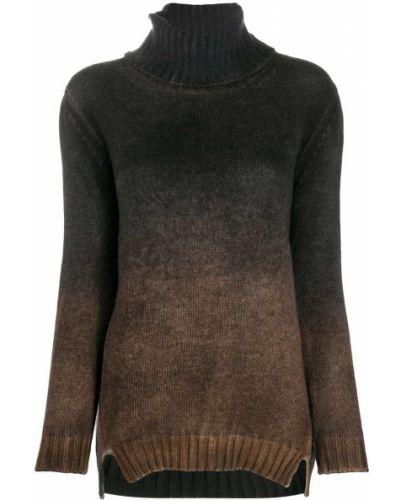 С рукавами кашемировый коричневый джемпер в рубчик Avant Toi