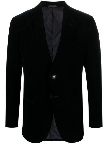Бархатный однобортный синий удлиненный пиджак Giorgio Armani