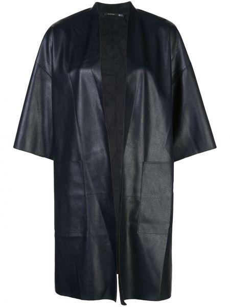 С рукавами черная кожаная куртка оверсайз из искусственной кожи Natori