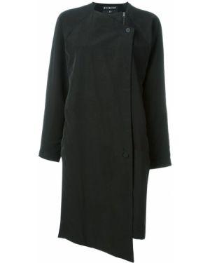 Однобортное черное пальто с капюшоном Minimarket