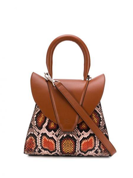 Коричневая сумка-тоут круглая на молнии с карманами Elena Ghisellini