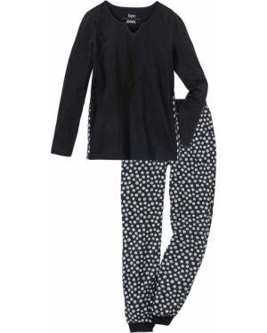 Пижама с брюками с карманами черная Bonprix
