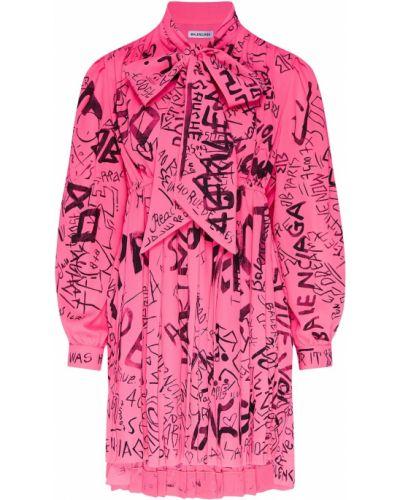 Платье мини розовое с завышенной талией Balenciaga