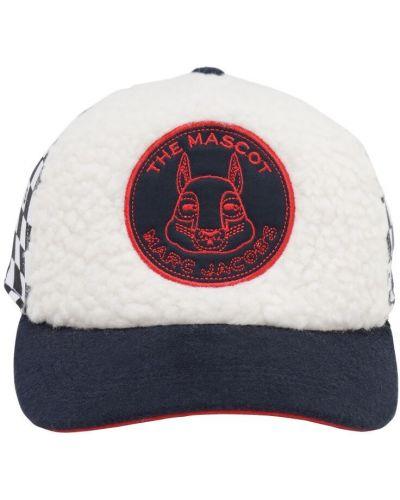 Bawełna biały kapelusz na gumce z łatami Little Marc Jacobs