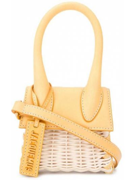 Плетеная кожаная маленькая сумка круглая Jacquemus