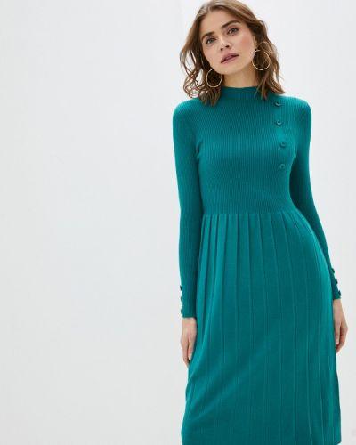 Бирюзовое трикотажное вязаное платье Tantra