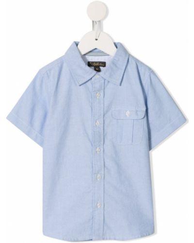 Niebieska koszula oxford krótki rękaw bawełniana Velveteen
