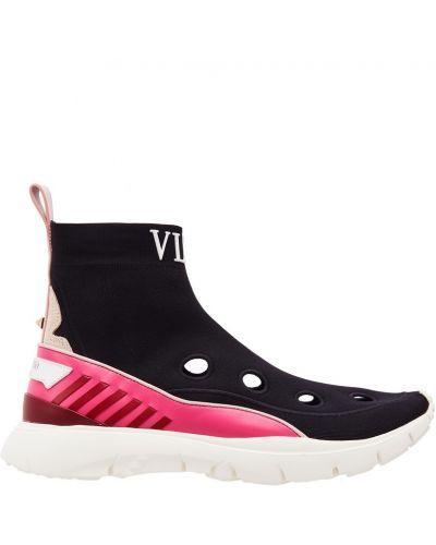 Высокие кроссовки текстильные с принтом Valentino