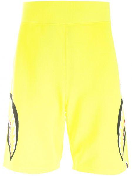 Желтые хлопковые шорты с заплатками A Bathing Ape®