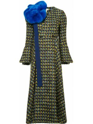 Шерстяное пальто с капюшоном двубортное Delpozo