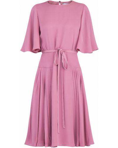 Платье с поясом розовое шелковое Valentino