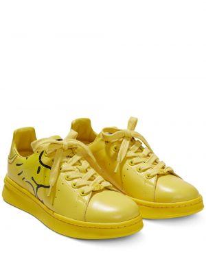 Koronkowa żółty skórzane sneakersy na sznurowadłach z prawdziwej skóry Marc Jacobs