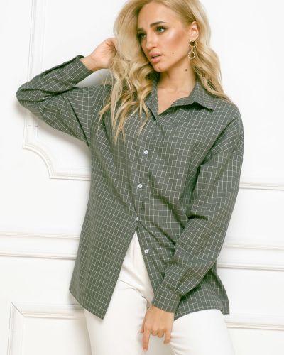С рукавами блузка с воротником на пуговицах свободного кроя Leleya