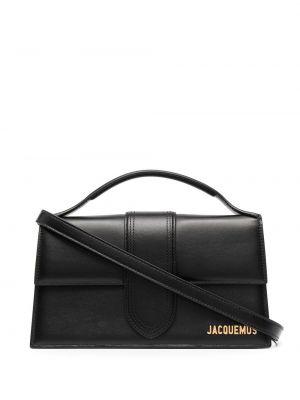 Золотистая кожаная черная сумка на плечо Jacquemus