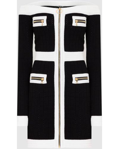 Платье мини с открытыми плечами - черное Balmain