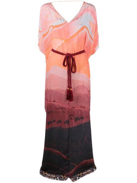С рукавами шелковое платье мини с вырезом Matthew Williamson