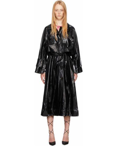 Czarny długi płaszcz z paskiem zapinane na guziki Saks Potts