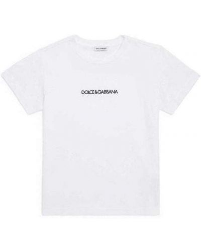 Biała podkoszulka z printem casual Dolce And Gabbana