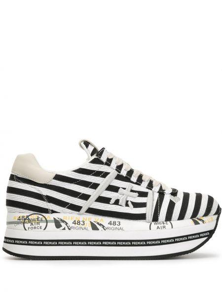 Кроссовки на платформе черные белый Premiata
