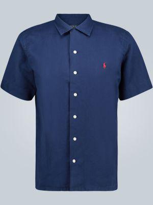 Синяя льняная классическая рубашка с вышивкой Polo Ralph Lauren
