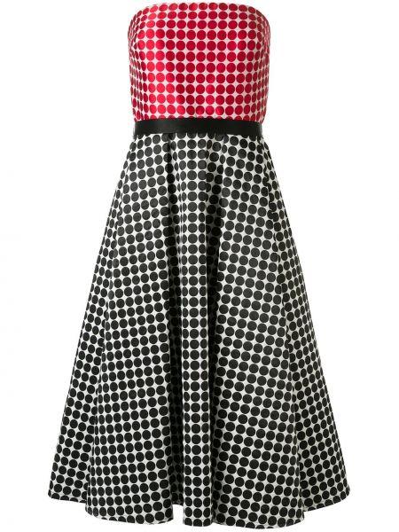 Платье с поясом в горошек длинное Tadashi Shoji