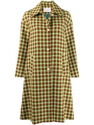 С рукавами зеленое пальто на пуговицах с карманами La Doublej