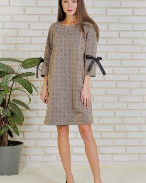 Прямое вечернее платье с бантом с люрексом с круглым вырезом Lika Dress