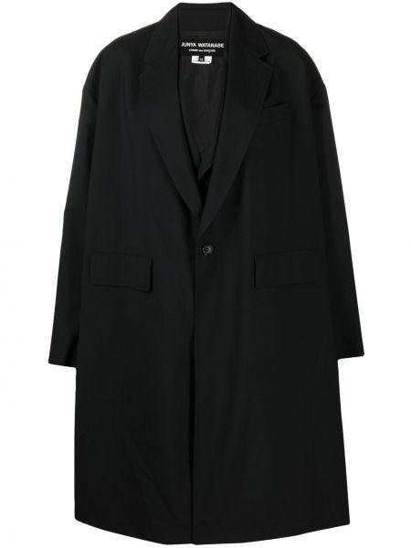 Шерстяное черное длинное пальто с воротником Junya Watanabe