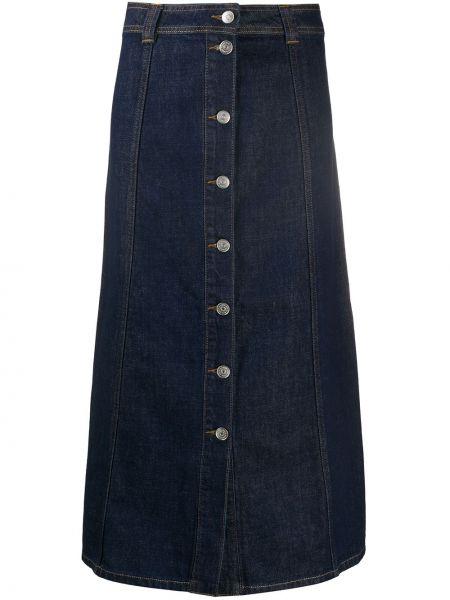 Юбка миди джинсовая с завышенной талией Ganni