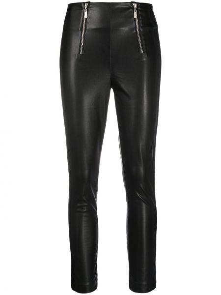 Кожаные черные брюки скинни на молнии Twin-set