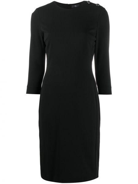 Черное платье с рукавами на пуговицах круглое из вискозы Fay