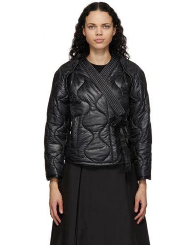 Нейлоновая черная длинная куртка с воротником с карманами 3.1 Phillip Lim