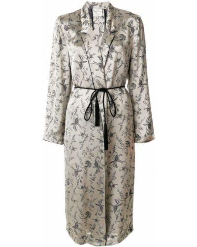 Длинное пальто с цветочным принтом с принтом Forte Forte