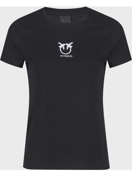 Хлопковая черная футболка Pinko