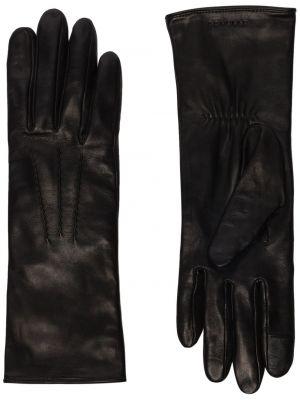 Шелковые черные кожаные перчатки Agnelle
