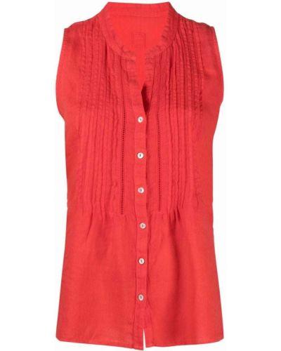 Красная рубашка с воротником на пуговицах 120% Lino