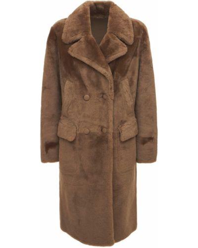 Бежевое длинное пальто Yves Salomon