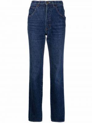 Прямые синие джинсы с высокой посадкой Giorgio Armani Pre-owned