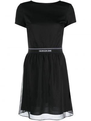 Черное платье мини с вырезом с короткими рукавами Calvin Klein Jeans