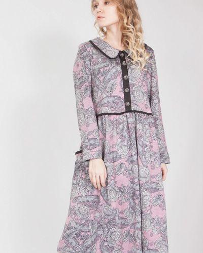 Платье миди розовое осеннее мадам т