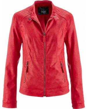 Кожаная куртка на молнии с кокеткой Bonprix
