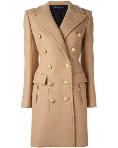 Длинное пальто двубортное Balmain