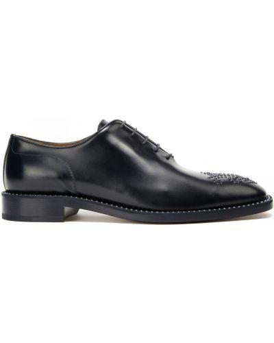 Кожаные синие туфли квадратные Fratelli Rossetti