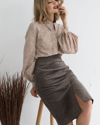 Прямая юбка карандаш вельветовая с карманами Look-like-cat