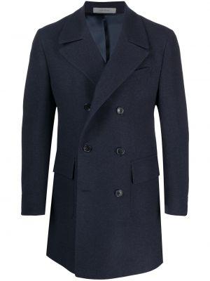 Синее шерстяное длинное пальто двубортное Corneliani