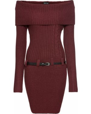 Платье мини мерцающее красный Bonprix